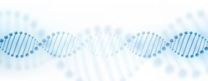 DNA chromosome banner concept. Science technology vector background for biomedical, health, chemistry design. 3D style in light blue color.